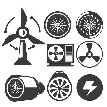 jet engine: jet engine turbines icons Illustration
