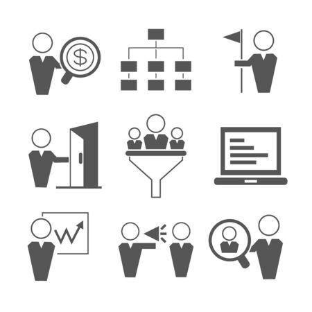business management icons 일러스트
