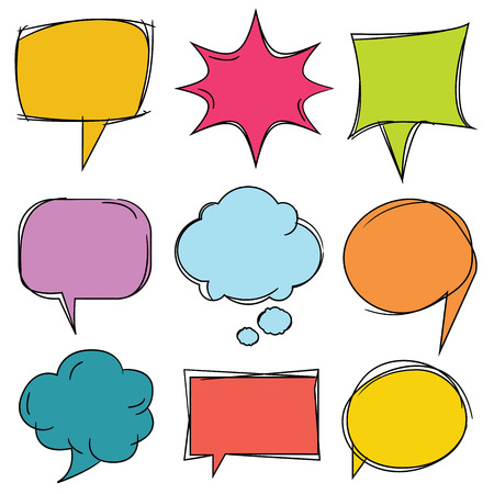 communication icons: colorful speech bubbles