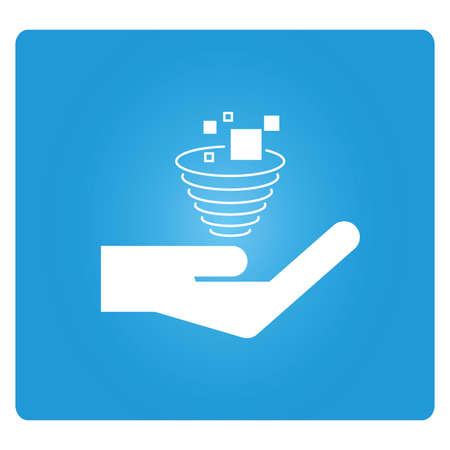 funnel: hand holding data funnel icon