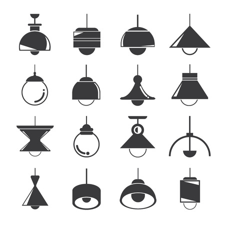 lamp icons, ceiling lamp icons 矢量图像