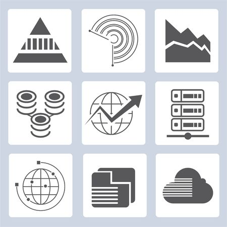 global finance: data analytics icons, graph icons