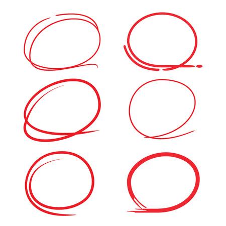 highlighter: red circle highlighter set Illustration