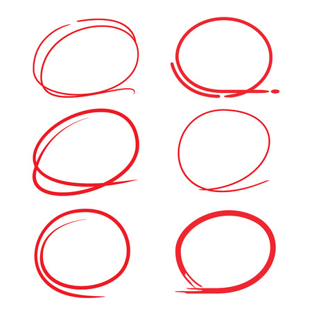 hand written: red circle highlighter set Illustration