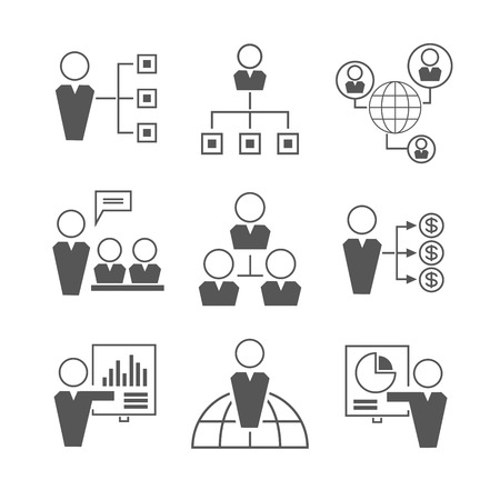 organization: 조직 관리 아이콘 일러스트