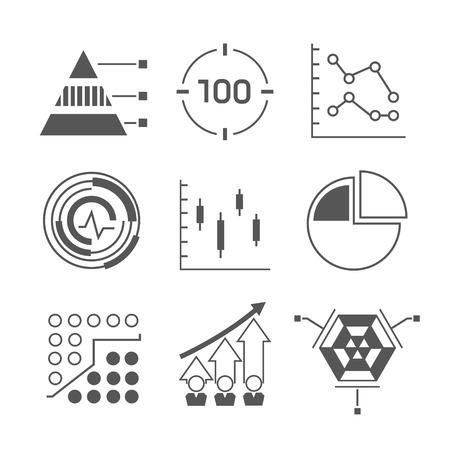 icônes de réseau, icônes d'analyse de données Vecteurs