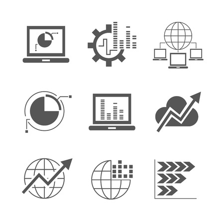 systematic: network analytics icons Illustration