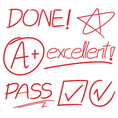excellent: check mark symbol, excellent grade