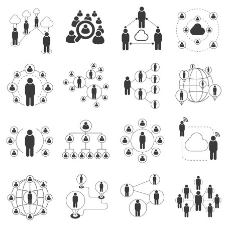 social media icons, social network icons, connecting people icons