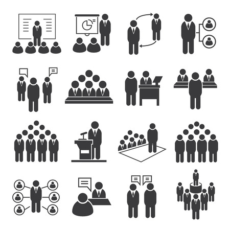 business meeting icons, conference icons  イラスト・ベクター素材