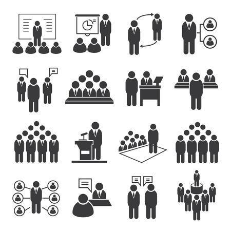 Ikony spotkanie biznesowe, ikony konferencyjnych