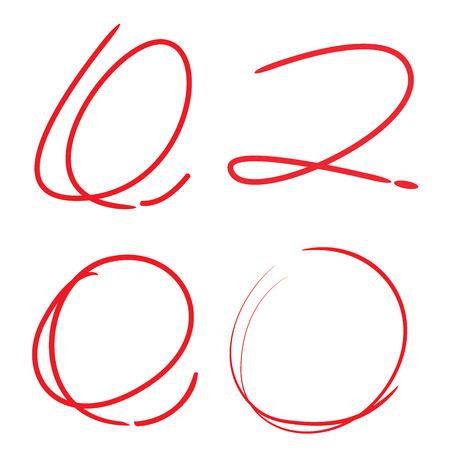 red markers, hand drawn cirlces