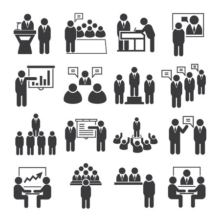 business roles: business meeting icons, conference icons Illustration