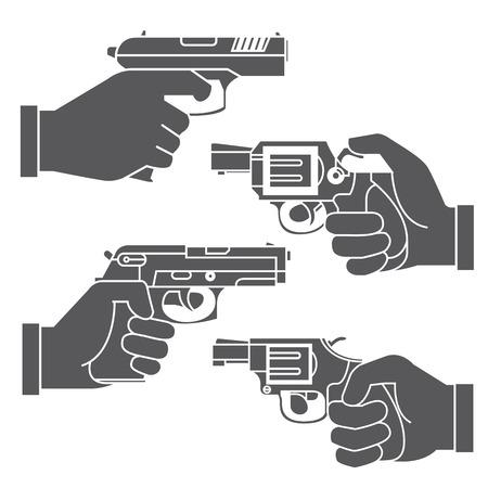 hand gun: hand holding gun
