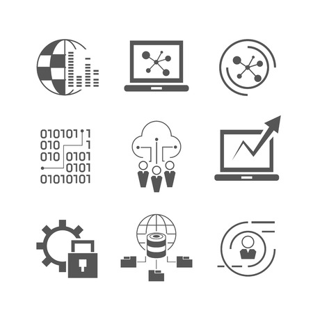 security icon: data analytics, network icons Illustration