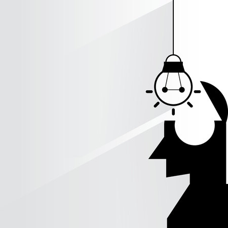 resourceful: head and idea Illustration