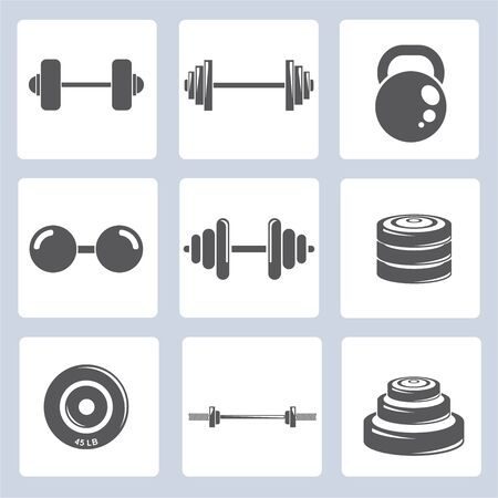 dumbbell icons, weight icons