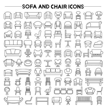 kolekcja ikon mebli, ikony, ikony rozkładane krzesła Ilustracje wektorowe