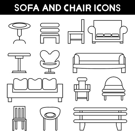 lifestyle home: sofa icons Illustration