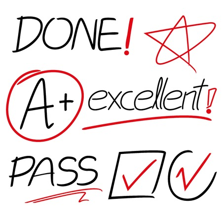amazement: ticks, grades, hand drawn, check mark, job done