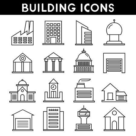 building estate: building and real estate line icons