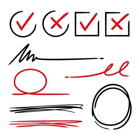 marks: ticks, check marks, underlines