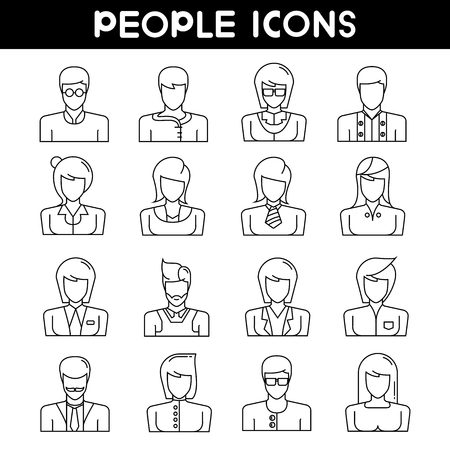 face illustration: people icons, outline icons Illustration