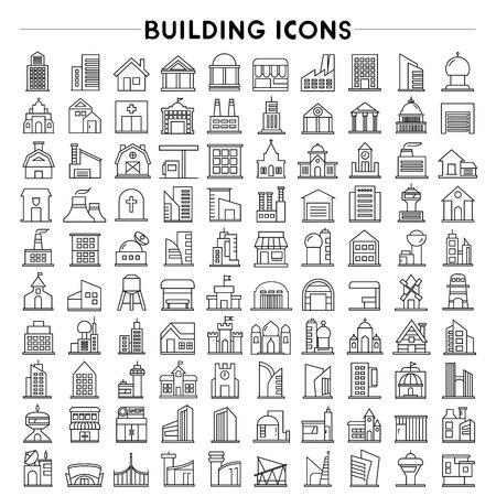 bienes raices: construcción y bienes raíces iconos, iconos de esquema