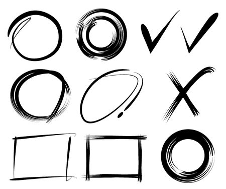 circl: vector frames, hand drawn circle frames, ticks