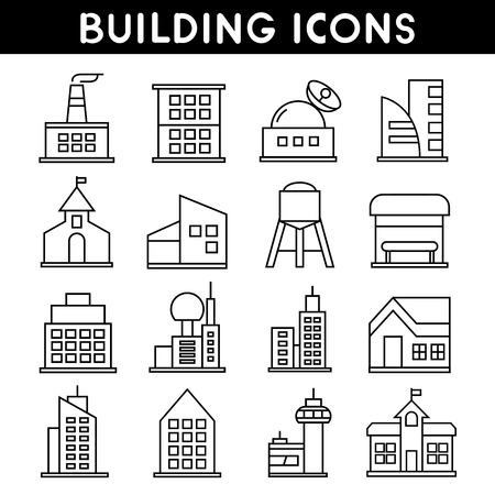 icons: building icons outline icons Illustration