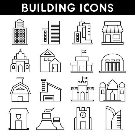 high rise: building icons outline icons Illustration