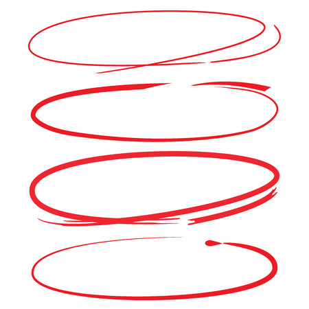 dibujo: marcadores de color rojo, círculos rojos Vectores