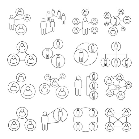 incorporation: people connect icons, people diagram icons, outline icons Illustration