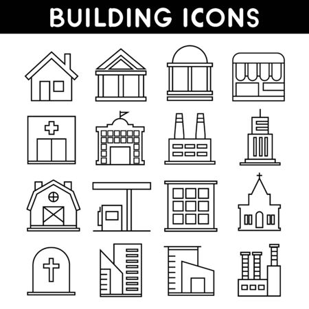 roof: building and real estate line icons