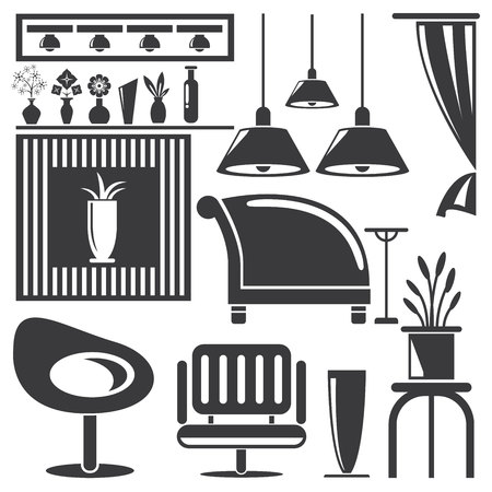 lamp silhouette: home furniture icons