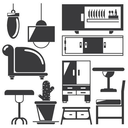 cadeira: kitchen, home furniture icons Ilustração