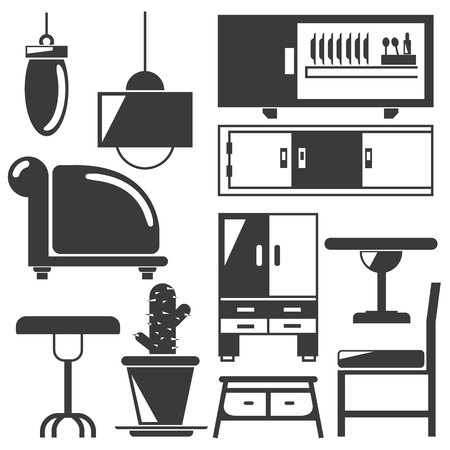 home furniture: kitchen, home furniture icons Illustration