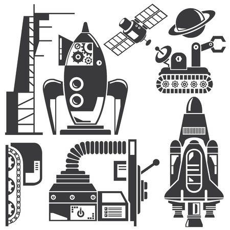 space robot and futuristic machine