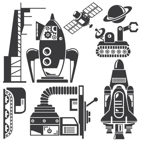 space robot and futuristic machine