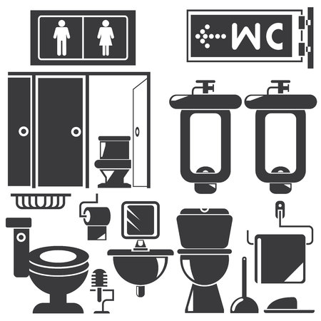 domestic room: WC, toilet Illustration