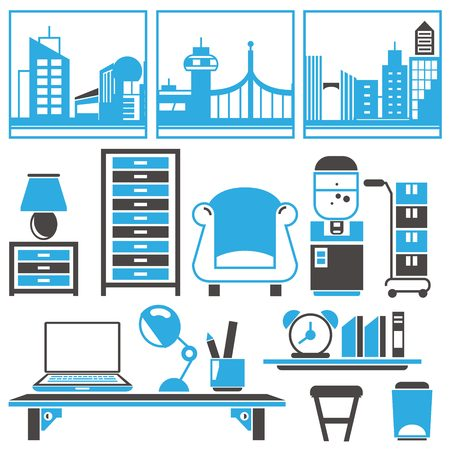 design office: office interior design Illustration