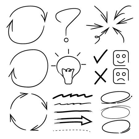 elementos marcadores dibujados a mano, flechas Ilustración de vector
