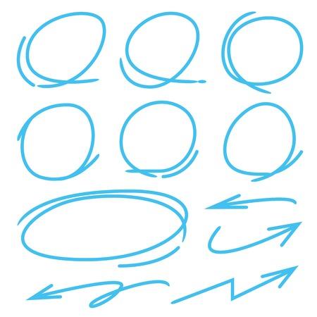 highlight: arrows, circle to highlight a text Illustration