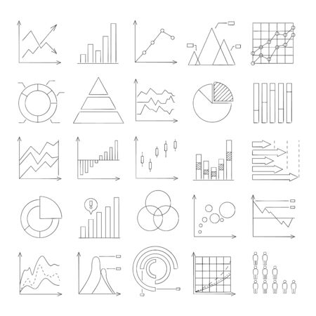 criterion: hand drawn graph, chart, data icons Illustration