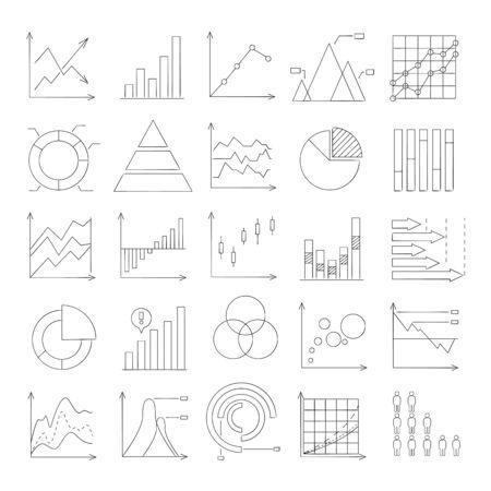 hand drawn graph, chart, data icons Illustration