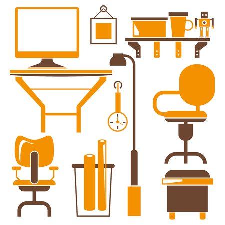 design office: office furniture icons,office interior design Illustration