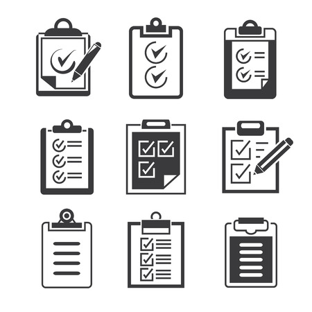 isolated clipboard, list icons set