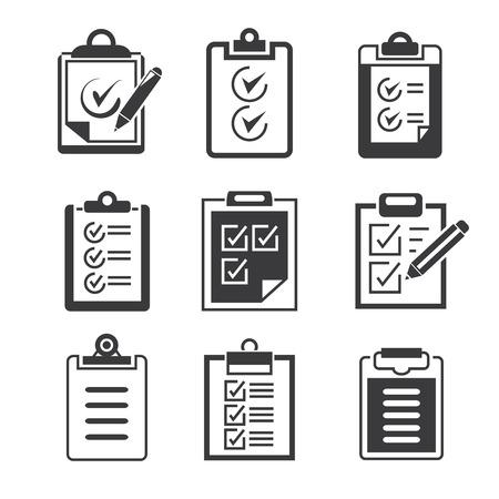 geïsoleerde klembord, lijst geplaatste pictogrammen