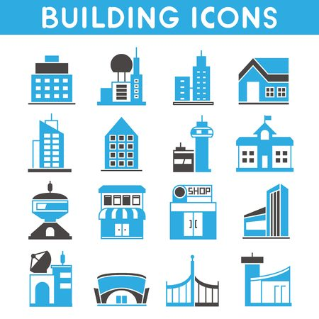 blue roof: building icons