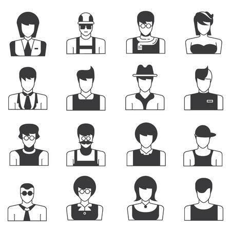 old business man: people icons Illustration
